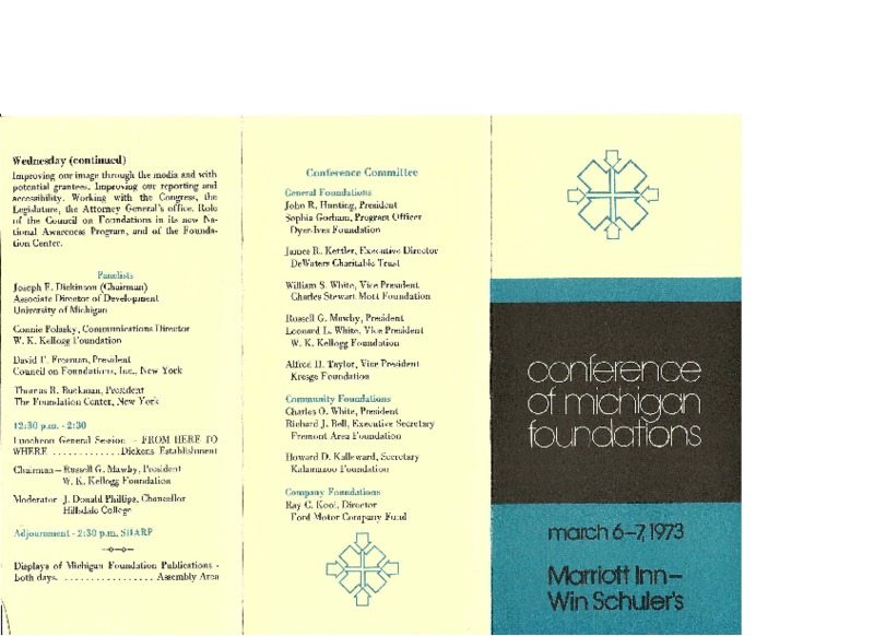 Go to Council of Michigan Foundations 1973 annual conference program item page