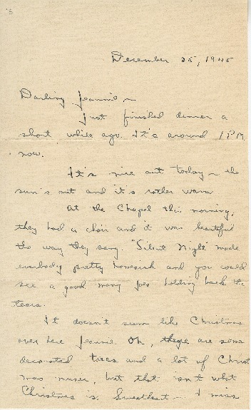 """Go to Letter to Jean Worthington by Edward """"Ned"""" Manley, December 25, 1945. item page"""