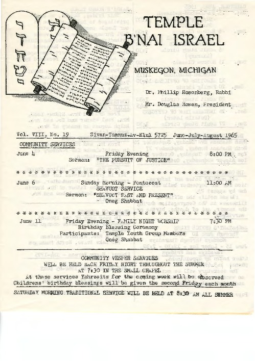 Go to Temple B'nai Israel Bulletin, June 1965 item page