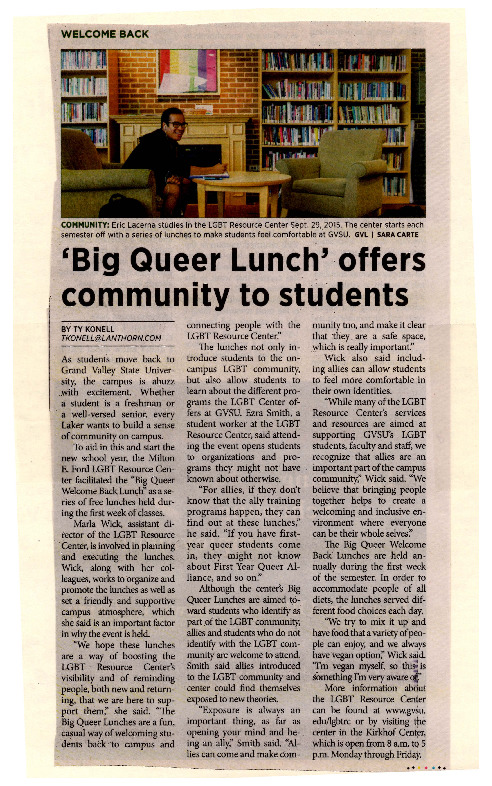 Go to Big Queer Lunch' offers community to students item page