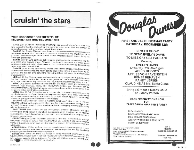 Go to Cruisin' the Stars Horoscopes and Douglas Dunes Christmas Party item page