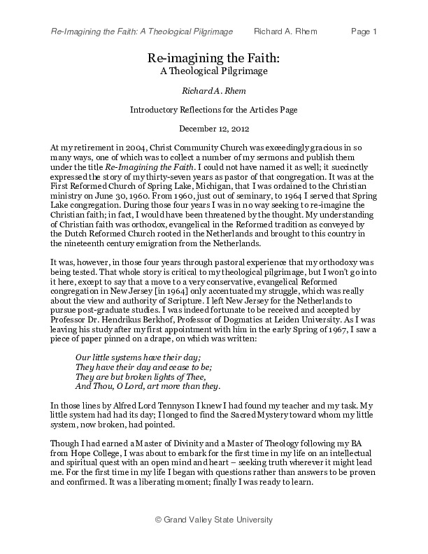 Go to Re-imagining the Faith: A Theological Pilgrimage item page