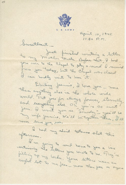 "Go to Letter to Jean Worthington by Edward ""Ned"" Manley, April 10, 1945. item page"