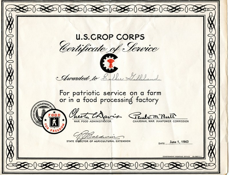 Go to U.S. Crop Corps Certificate of Service item page