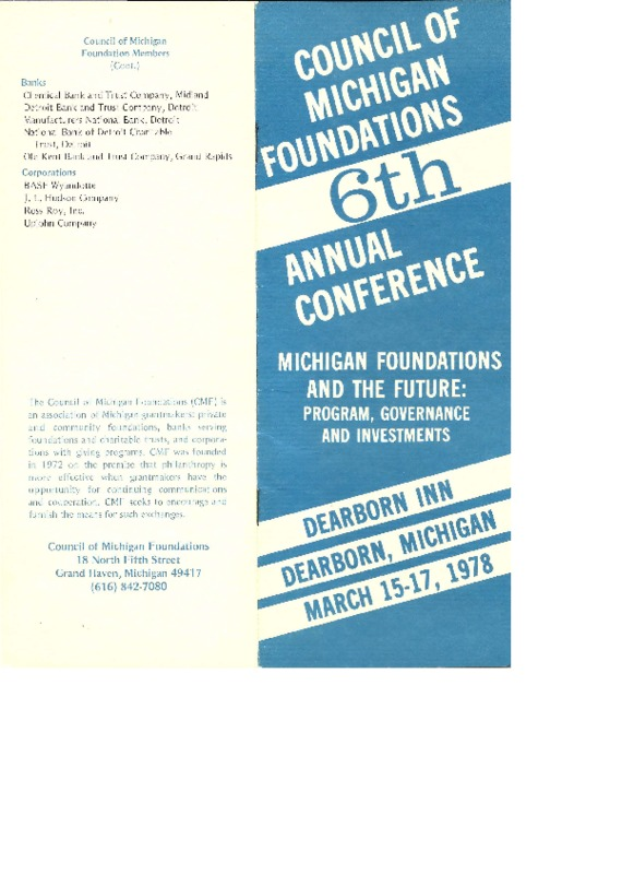 Go to Council of Michigan Foundations 1978 annual conference program item page