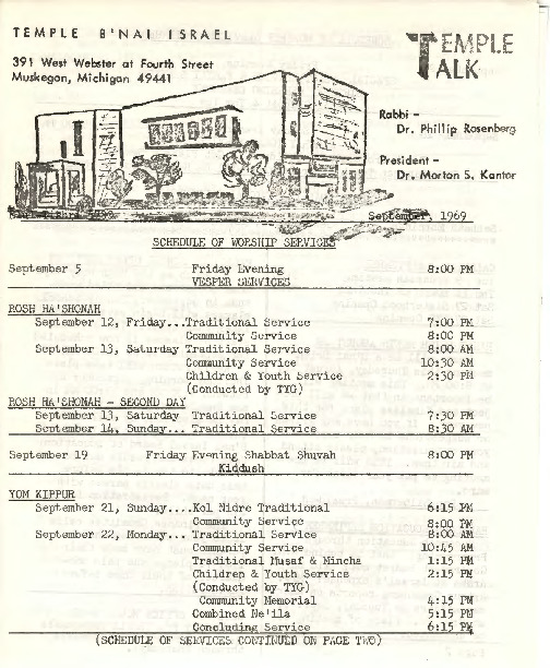 Go to Temple B'nai Israel Bulletin, September 5, 1969 item page