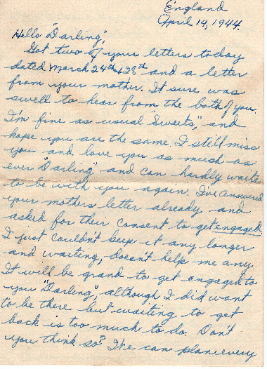 Go to Letter from Joe Olexa to Agnes Van Der Weide, April 14, 1944 item page