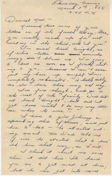 "Go to Letter to Edward ""Ned"" Manley by Jean Worthington, March 08, 1945. item page"