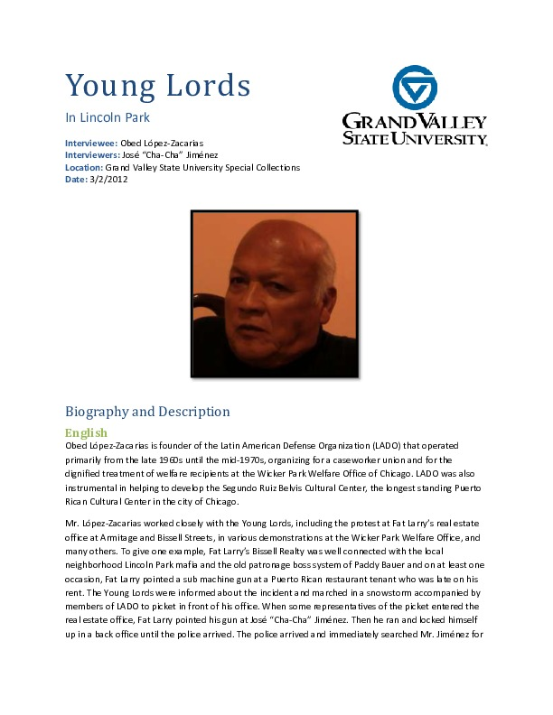 Go to Obed López-Zacarias video interview and biography item page