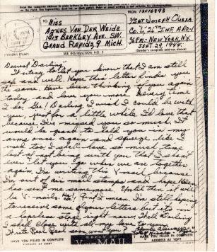 Go to Letter from Joe Olexa to Agnes Van Der Weide, September 29, 1944 item page
