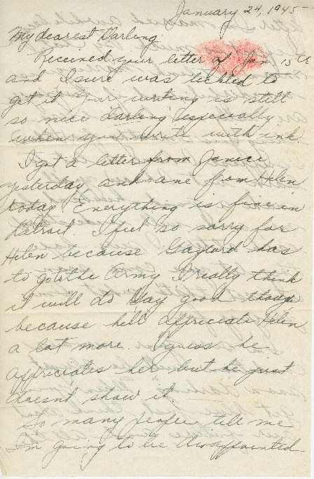 Go to Letter from Agnes Van Der Weide to Joe Olexa, January 24, 1945 item page
