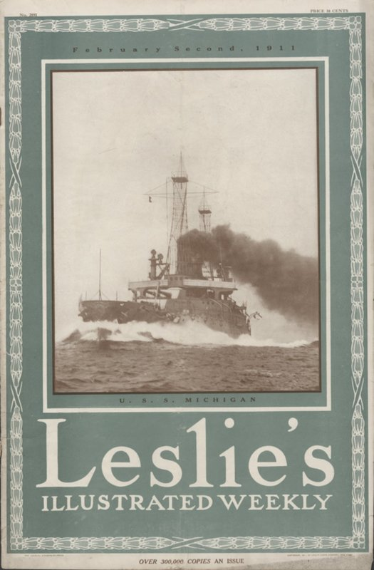 Go to U.S.S. Michigan on the cover of Leslie's Illustrated Weekly item page