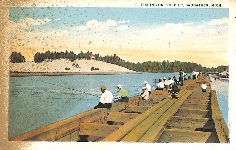 Go to Fishing on the Pier, Saugatuck, Mich. Postcard item page