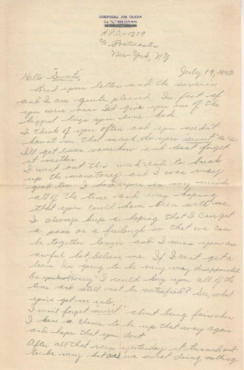 Go to Letter from Joe Olexa to Agnes Van Der Weide, July 19, 1942 item page