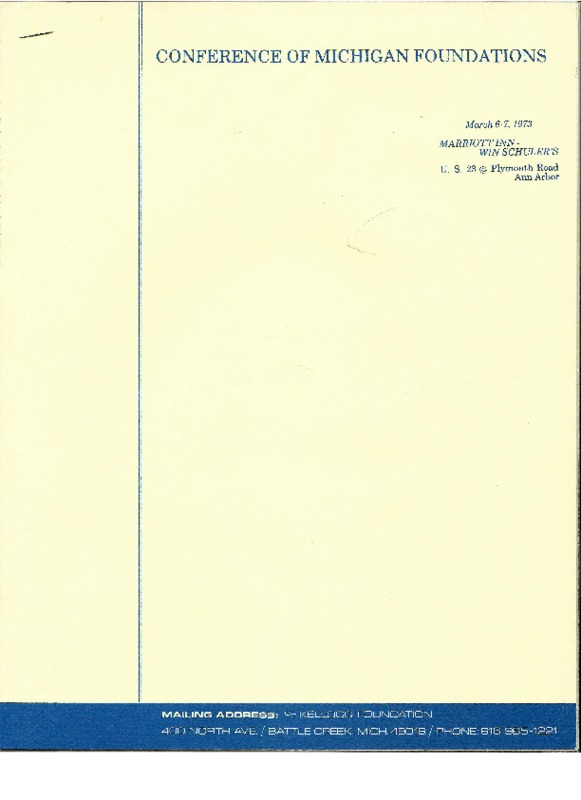 Go to Council of Michigan Foundations 1973 annual conference registrants item page