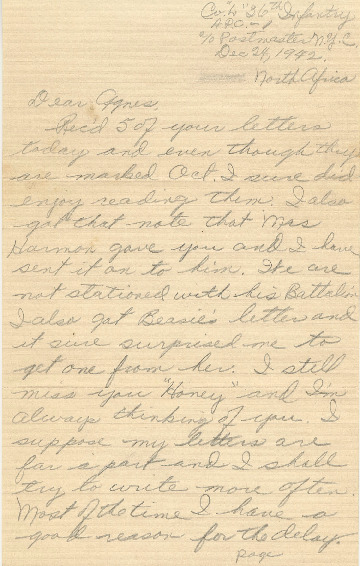 Go to Letter from Joe Olexa to Agnes Van Der Weide, December 24, 1942 item page