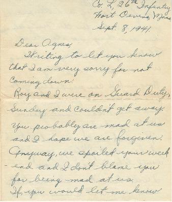 Go to Letter from Joe Olexa to Agnes Van Der Weide, September 8, 1941 item page