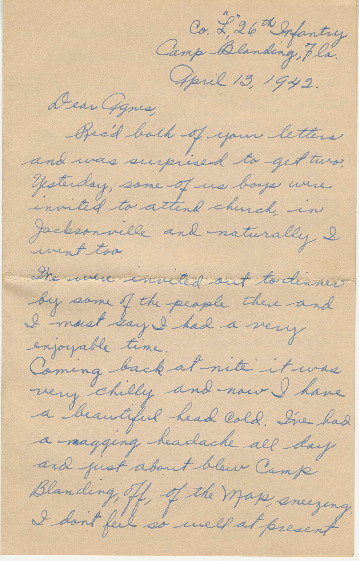 Go to Letter from Joe Olexa to Agnes Van Der Weide, April 13, 1942 item page