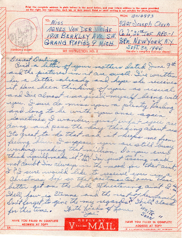 Go to Letter from Joe Olexa to Agnes Van Der Weide, September 30, 1944 item page