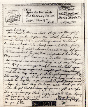 Go to Letter from Joe Olexa to Agnes Van Der Weide, July 10, 1944 item page