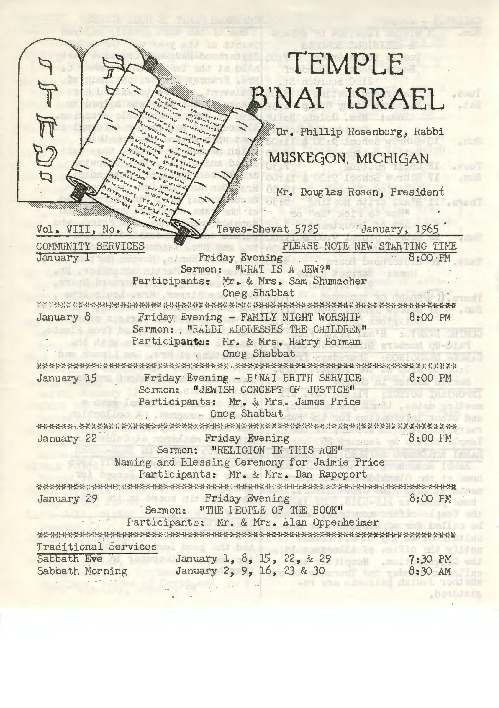 Go to Temple B'nai Israel Bulletin, January 1965 item page