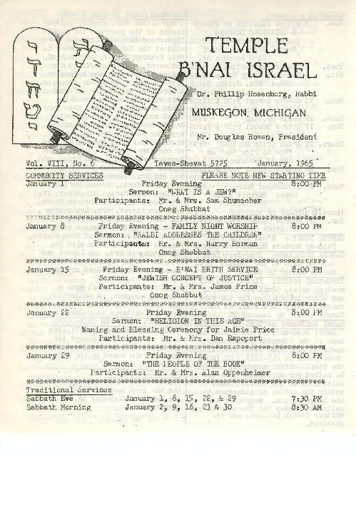 Go to Temple B'nai Israel Bulletin, January 1965 item page
