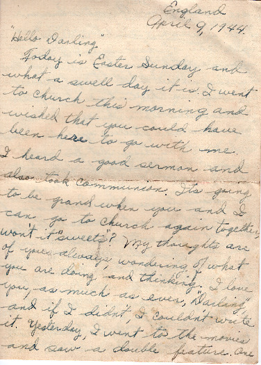Go to Letter from Joe Olexa to Agnes Van Der Weide, April 9, 1944 item page