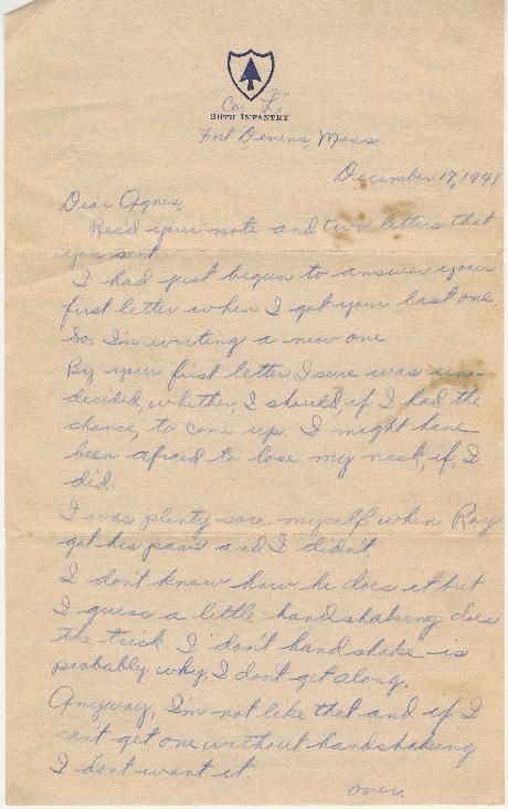 Go to Letter from Joe Olexa to Agnes Van Der Weide, December 17, 1941 item page