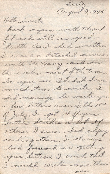 Go to Letter from Joe Olexa to Agnes Van Der Weide, August 9, 1943 item page