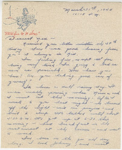 "Go to Letter to Edward ""Ned"" Manley by Jean Worthington, March 31, 1945. item page"
