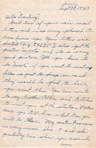 Go to Letter from Joe Olexa to Agnes Van Der Weide, September 20, 1943 item page