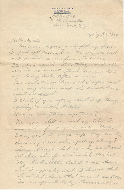 Go to Letter from Joe Olexa to Agnes Van Der Weide, July 20, 1942 item page