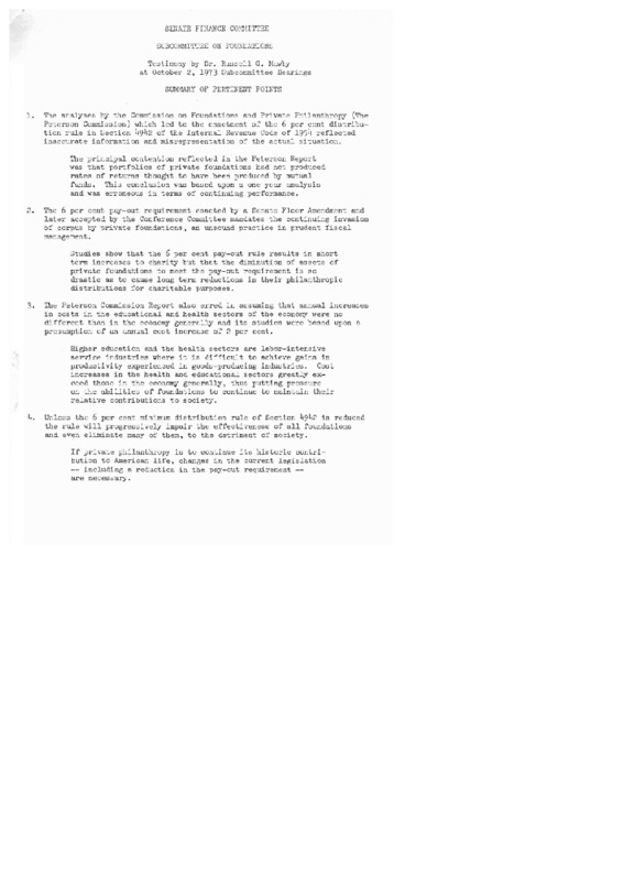 Go to Russell Mawby testimony on the Internal Revenue Code of 1954. item page