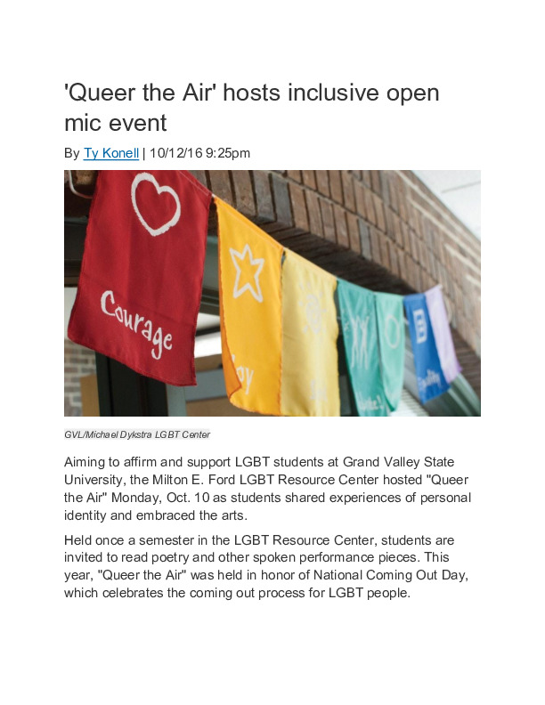 Go to Queer the Air hosts inclusive open mic event item page