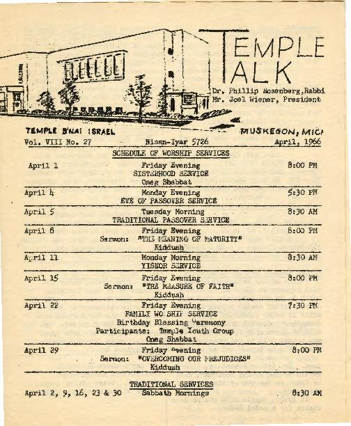Go to Temple B'nai Israel Bulletin, April 1, 1966 item page