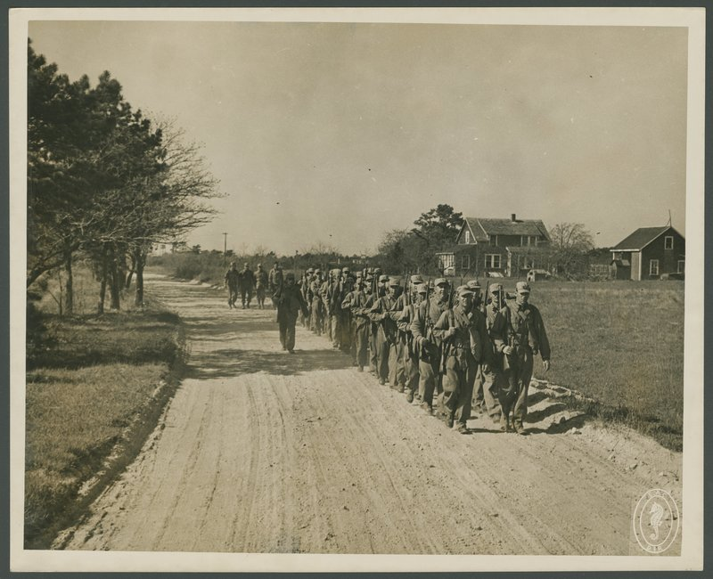 Go to Soldiers marching at Camp Edwards item page