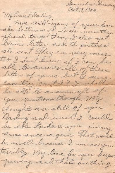 Go to Letter from Joe Olexa to Agnes Van Der Weide, October 13, 1944 item page