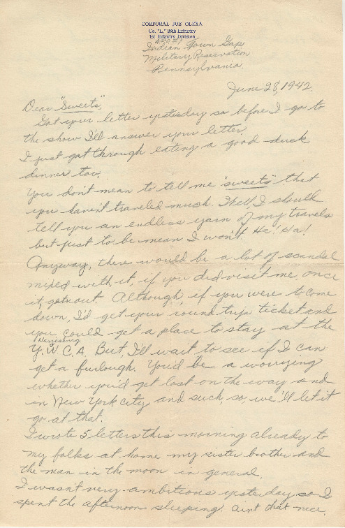 Go to Letter from Joe Olexa to Agnes Van Der Weide, June 28, 1942 item page