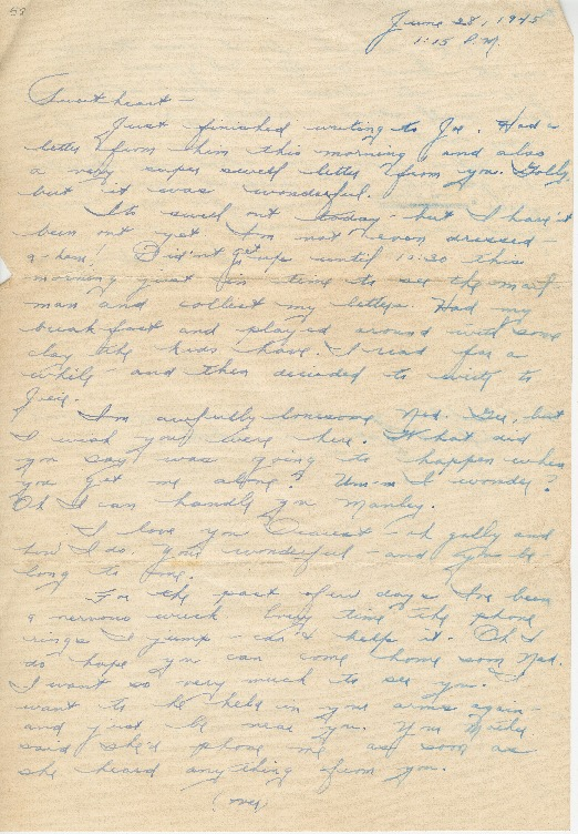 "Go to Letter to Edward ""Ned"" Manley by Jean Worthington, June 28, 1945. item page"