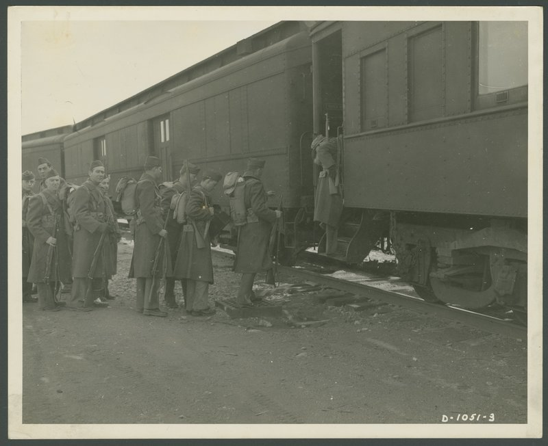 Go to Soldiers boarding train at Camp Edwards item page