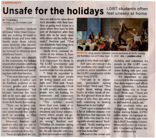Go to Unsafe for the holidays: LGBT students often feel uneasy at home item page