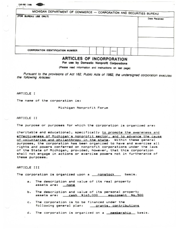 Go to Michigan Nonprofit Forum 1990-09-26 steering committee Articles of Incorporation item page