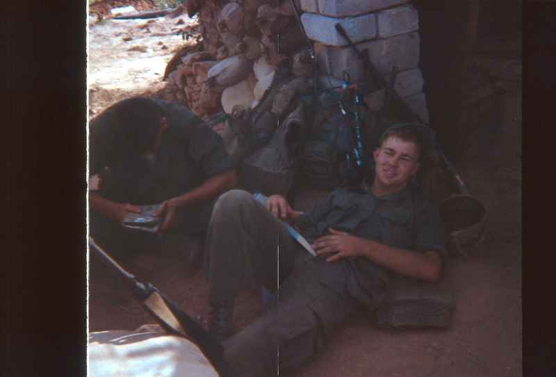 Go to Oakes resting after going from Camp Doung Son to a platoon patrol base in August 1968 item page