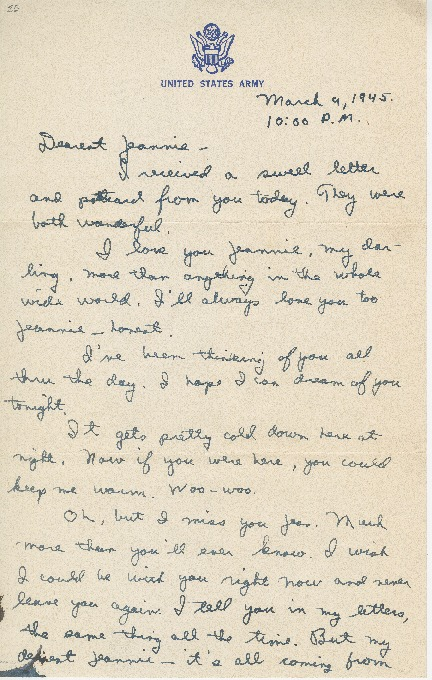 """Go to Letter to Jean Worthington by Edward """"Ned"""" Manley, March 09, 1945. item page"""