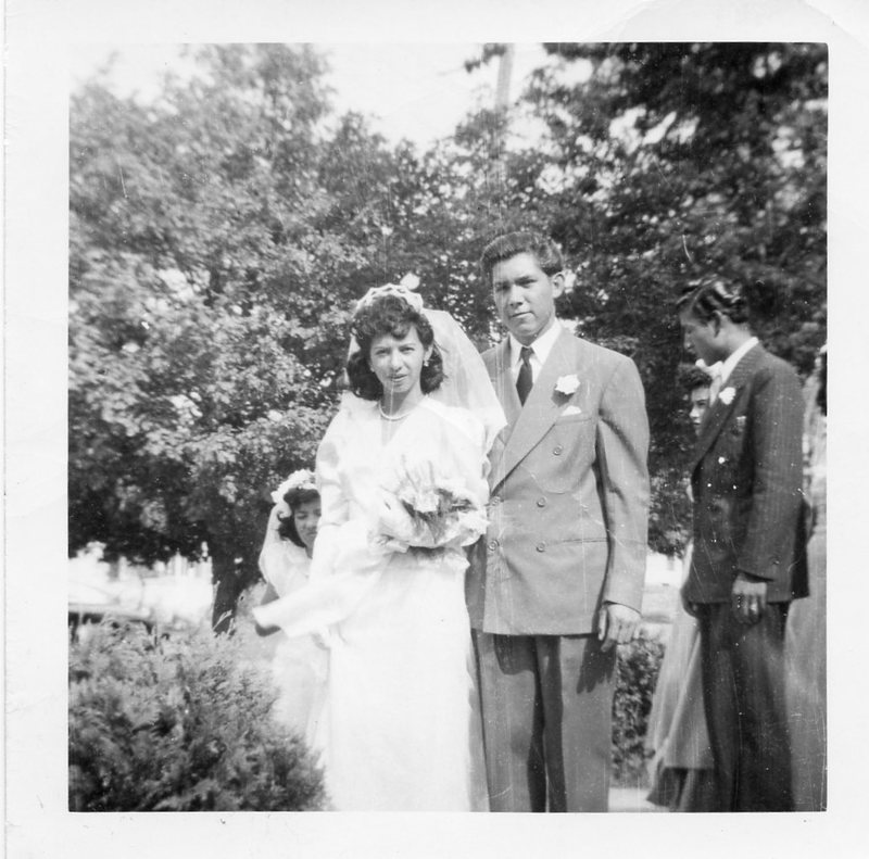 Go to Fidencio and Lupe Vasquez on their wedding day, 1947 item page