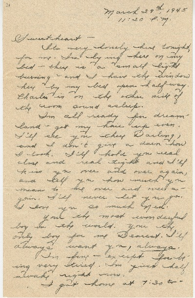 "Go to Letter to Edward ""Ned"" Manley by Jean Worthington, March 29, 1945. item page"