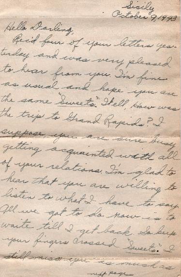 Go to Letter from Joe Olexa to Agnes Van Der Weide, October 9, 1943 item page