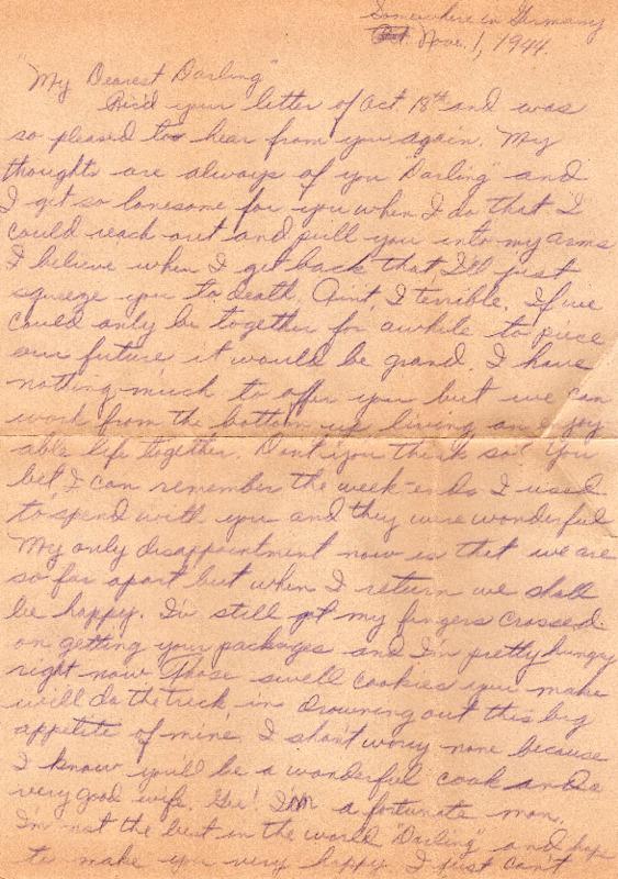 Go to Letter from Joe Olexa to Agnes Van Der Weide, November 1, 1944 item page