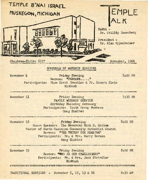 Go to Temple B'nai Israel Bulletin, November 4, 1966 item page