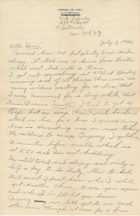 Go to Letter from Joe Olexa to Agnes Van Der Weide, July 6, 1942 item page